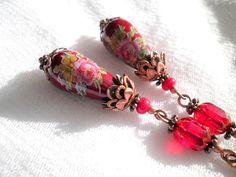 Red Rose Romantic Tensha Earrings. Drop Beads. by juta230 on Etsy, $15.00