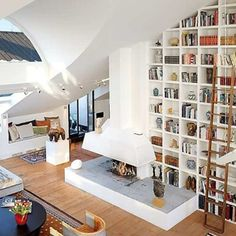 The Loft of My Life. check out those skylights! - Amazing Stockholm Loft With 16 Feet Ceilings Apartment Decoration, Design Apartment, Apartment Interior, Apartment Makeover, Attic Apartment, York Apartment, Interior Office, Dream Apartment, Studio Apartment