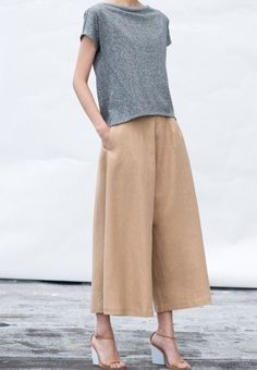 Tan culottes, gray tee