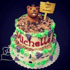 Wine lover and groundhog day birthday cake