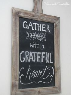 Transform any chalkboard in your house to a fall decor staple with a simple grateful message.