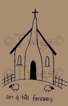 Primitive Stitchery Patterns | ... - Primitive Church House Stitchery E Pattern (Powered by CubeCart