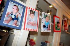 At Baby's first birthday, hang pictures from each month of his first year, backed by paper that coordinates with your party theme.