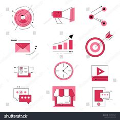 Digital marketing Icon Set design.Vector Illustration.  #digital marketing #marketing #technology #icon #design #idea #graphic #strategy #business #commercial #advertising #digitalmarketingdesign
