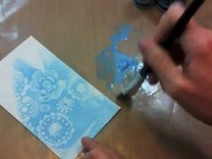 Technique video: stencil multi medium resist technique >> by Claudine Hellmuth