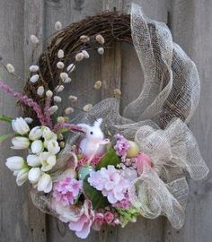 Easter Bunny Spring Garden Wreath-love the traditional wreath mixed with some deco mesh to update the look by avis