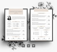 Resume Template , CV template , Business card , Cover letter , Editable PSD & Word  file , Fonts included , Instant Digital Download
