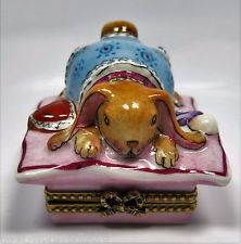 Limoges France Peint Main ROCHARD Baby Bunny Rabbit Trinket/Pill Box