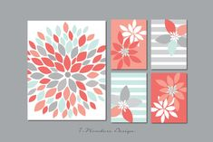 Flower Burst Botanicals Abstract Art Print Set of - and // Shades of Pink Coral, Grey and Light Mint // Modern Home Art Diy Wall Art, Diy Art, Floral Prints, Art Prints, Diy Canvas, Canvas Ideas, Anime Comics, Oeuvre D'art, Fine Art Paper