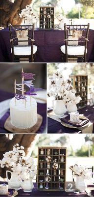 when rustic meets vintage decor #wedding #rustic #vintage #purple