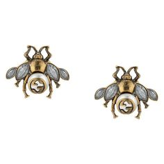 Gucci Bee earrings with crystals ($370) ❤ liked on Polyvore featuring jewelry, earrings, metallic, gucci jewelry, pearl earrings, earring jewelry, chain earrings and cream pearl earrings