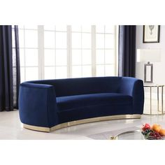 Meridian Furniture Julian Navy Navy velvet contemporary sofa w/ curved base The Julian Collection features Navy Sofa, Gold Sofa, Yellow Sofa, Blue Sofas, Sofa Upholstery, Fabric Sofa, Modern Sofa Designs, Sofa And Loveseat Set, Meridian Furniture