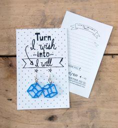 Blue Geometric earrings 35% off sale FREE SHIPPING on a Greeting card Little gift Blue earrings bridal shower gift girlfriend earrings