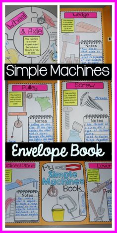 Simple machines made simple! Students use a 10 x 13 inch envelope to make a book about simple machines. Includes basic descriptions and pictures of each type of machine, plus a space for note-taking with suggested notes.