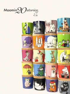 Moominmugs : Line of mugs featuring the most popular stories and characters from Moomin. Moomin Mugs, Moomin Valley, Tove Jansson, Little My, Marimekko, Vintage Pottery, Retro Design, Glass Design, Popular Stories