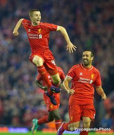 Liverpool's Jordan Rossiter scores the first goal against Middlesbrough on his debut. #LFC