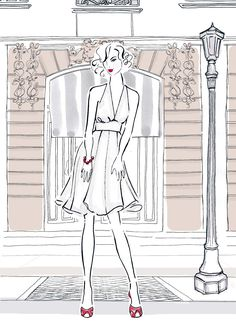 Famous Frocks: Patterns and Instructions for Recreating Fabulous Iconic Dresses - 10 Patterns for 20 Dresses in All! - Illustration by Kerrie Hess