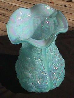 *FENTON ART GLASS ~ Topaz Blue Carnival Fenton Poppy Show Vase