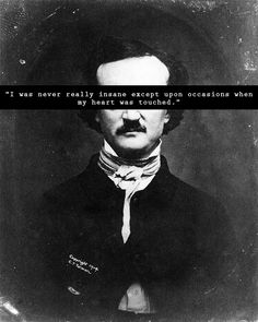 I was never insane except upon the occasion when my heart was touched // Edgar Allan Poe