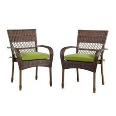 Martha Stewart Living Charlottetown Brown All-Weather Wicker Patio Dining Chair with Green Bean Cushion (2-Pack) 65-55611BA at The Home Depot - Mobile
