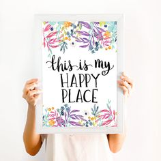 This is my Happy Place, Quote Wall art Decor, Print, Watercolor and Lettering…