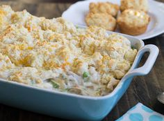 """Chicken Cobbler {Spicey Southern Kitchen} ..""""This Chicken Cobbler from Paula Deen is one of my absolute favorite chicken casseroles to make. It's basically a chicken pot pie with a thick layer of soft, pillowy, and cheesy biscuits on top."""""""