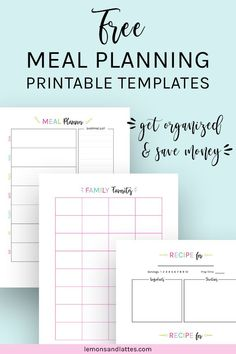 Free meal planning printables all things planners Monthly Menu Planner, Mom Planner, Monthly Meal Planning, Meal Planner Printable, Menu Planners, Planner Template, Free Printable Quotes, Printable Templates, Card Templates