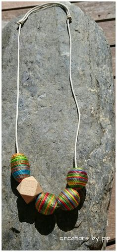 Multi coloured silk wrapped bead statement Necklace  www.creations-by-pip.myshopify.com