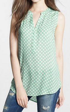 Pair with a cardigan for work or shorts for fun! Sandra Ingrish Sleeveless Dot Print Blouse available at Mom Outfits, Casual Outfits, Cute Outfits, Fashion Outfits, Casual Wear, Dots Fashion, Blouse And Skirt, Skirt Patterns, Sewing Tutorials