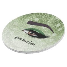Green glam lashes eyes | makeup artist paper plate - makeup artist gifts style stylish unique custom stylist