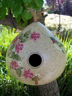Hummingbird Gourd Birdhouse*****Follow our unique garden themed boards at www.pinterest.com/earthwormtec *****Follow us on www.facebook.com/earthwormtec for great organic gardening tips
