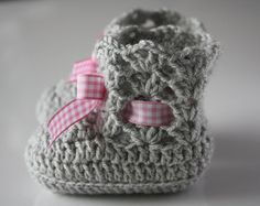 Baby bootie, pink and grey handmade