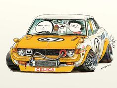 "car illustration""crazy car art""jdm  japanese old school ""TA22 / DARUMA CELICA""original cartoon ""mame mame rock""   /   © ozizo"