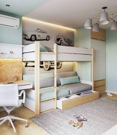 Quartos com beliche: 40 belas imagens para você! Small Bedroom Hacks, Small Room Bedroom, Girls Bedroom, Kid Beds, Bunk Beds, Just Kids, Cool Kids Bedrooms, Boys Room Design, Baby Boy Rooms
