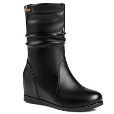 Fashionable Hidden Wedge and Ruched Design Women's Mid-Calf Boots #>=#>=#>=#>=#> Click on the pin to check out discount price, color, size, shipping, etc. Save and like it!