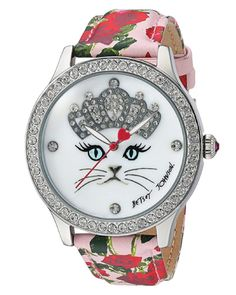 For cat lovers- Betsey Johnson Cat Face Floral Watch. Christmas Gifts For Tweens Daughter
