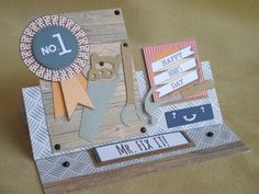 'Mr. Fix It' handmade easel Father's Day card. Made using the Papermania Mr Mister collection.