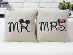 Miya® Mr & Mrs Micky und Minni liebevolle hochwertige Hochzeit Paar Kissenbezüge aus Baumwoll Sofakissen Kissenbezug Hochzeitgeschenk Miya beautycenter http://www.amazon.de/dp/B00WL04TWC/ref=cm_sw_r_pi_dp_sjhCwb1ZG6Y4J