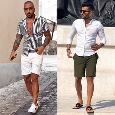 Left or right? Choose your favorite look! Ibiza Outfits, Miami Outfits, Summer Outfits Men, Short Outfits, Trendy Mens Fashion, Stylish Men, Men Casual, Fashion Men, Miami Fashion