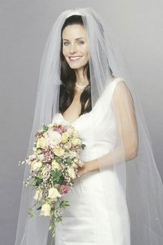 """Monica wore a House of Bianchi wedding dress in """"The One with Monica and Chandler's Wedding. Movie Wedding Dresses, High Street Wedding Dresses, Famous Wedding Dresses, Wedding Movies, Wedding Stuff, Fantasy Wedding, Dream Wedding, Friends Cast, Friends Moments"""