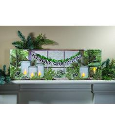 Large Lighted Winter Green Canvas