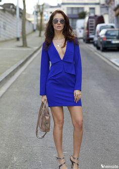 Blue V Neck Long Sleeve Slim Bodycon Dress - Sheinside.com
