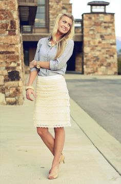 Elle Apparel: lace and chambray