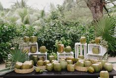 The wedding started at 4:00 p.m., so we decided to greet guests with coconuts as opposed to cocktails to help hydrate before the long night ahead.