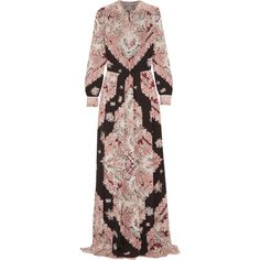 Vilshenko Gwen pleated printed silk crepe de chine maxi dress (7.905 BRL) ❤ liked on Polyvore featuring dresses, pink, maxi dress, floral print dress, floral maxi dress, colorful dresses and pink pleated dress