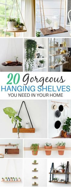 Shelves That'll Turn You Into a Modern Minimalist These 20 DIY Hanging Shelves Ideas Are Perfect For Indoor Gardens!These 20 DIY Hanging Shelves Ideas Are Perfect For Indoor Gardens! Cute Dorm Rooms, Cool Rooms, Diy Home Decor, Room Decor, Diy Decorations For Home, Diy Hanging Shelves, Farmhouse Side Table, Farmhouse Style, My New Room