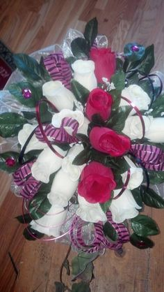Fuschia/Black/Tiger Bridal BLiNG wedding bouquet....$98.95....The Sugar Shack General Store.....Edgar,Nebraska