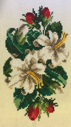 Lilies and Rose Buds Counted Cross Stitch Complete by Berwickbay