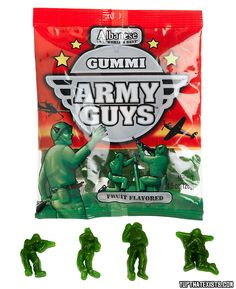 Gummi army men candy Throw your wimpy gummy bears in the trash, this has got to be the most badass candy of all time! Remember playing with army men when you were a kid? Well now you can eat them. This 4.5 Oz pack comes with four different army men shapes and are fruit flavoured. BUY IT HERE