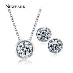 Newbark conjunto joyería de las mujeres ronda collar + pendiente plateado del oro blanco pequeño y redondo encantador aaa circón boda de compromiso conjuntos